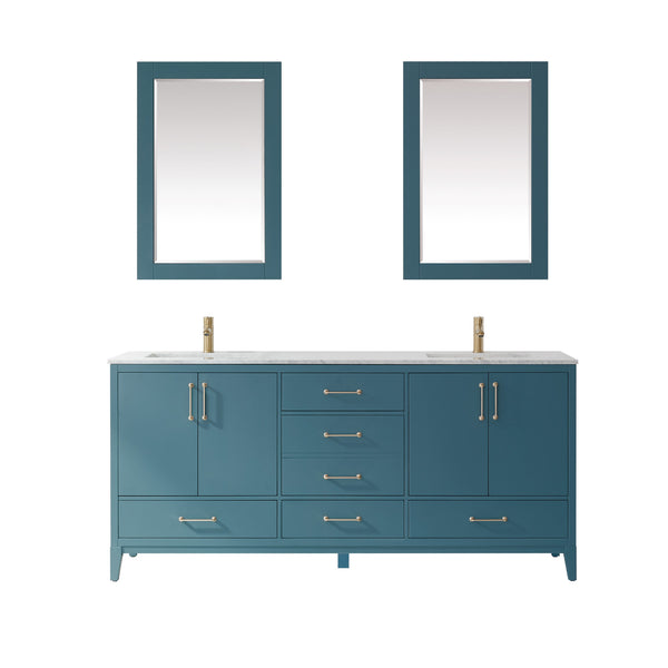 "Altair Design Sutton 72"" Double Bathroom Vanity Set in Royal Green  with Mirror,  H 33.1 x W 71.2 x D 21.6"""