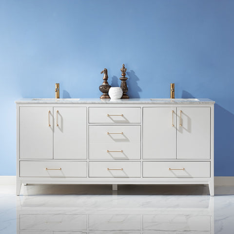 "Sutton 72"" Double Bathroom Vanity Set in White without Mirror"