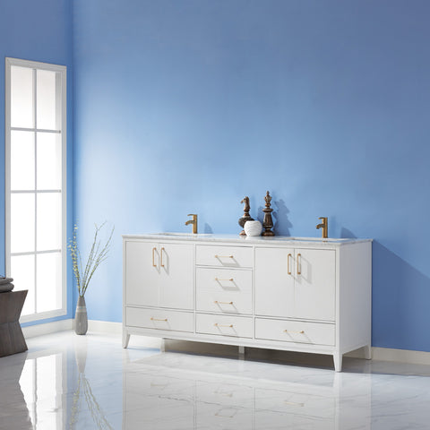 "Image of Sutton 72"" Double Bathroom Vanity Set in White without Mirror"