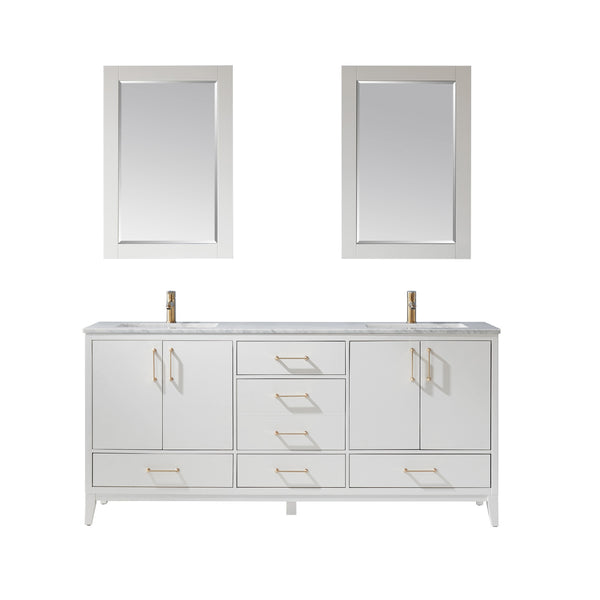 "Altair Design Sutton 72"" Double Bathroom Vanity Set in White  with Mirror,  H 33.1 x W 71.2 x D 21.6"""