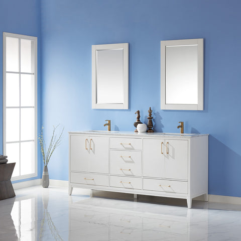 "Sutton 72"" Double Bathroom Vanity Set in White  with Mirror"