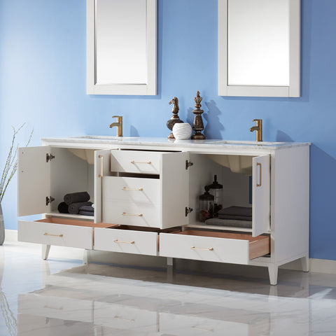 "Image of Sutton 72"" Double Bathroom Vanity Set in White  with Mirror"