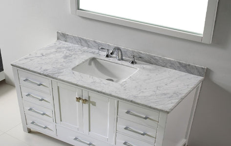 Aberdeen 60 inches White Transitional  Bathroom Vanity Single Sink