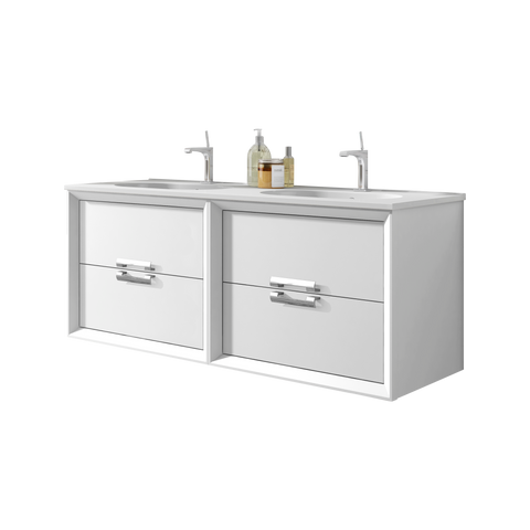 "48"" White Décor Tirador Wall Mounted/ Floating Double Bathroom Vanity"
