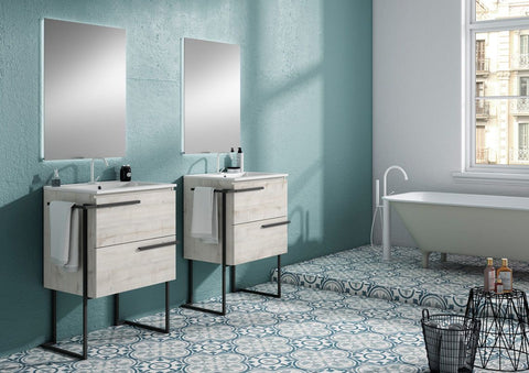 "24"" Abedul Scala Single Bathroom Vanity with Legs and Towel Bar"