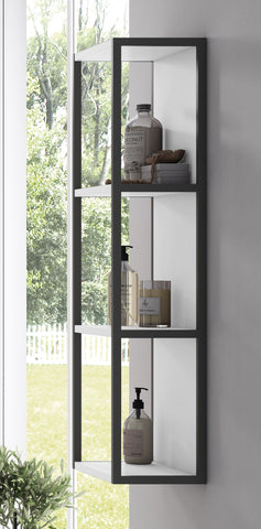 White Scala Tall Open  Storage/ Cabinet