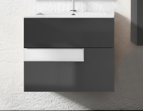 "24"" Grey and White Vision Wall Mounted/ Floating Single Bathroom Vanity"