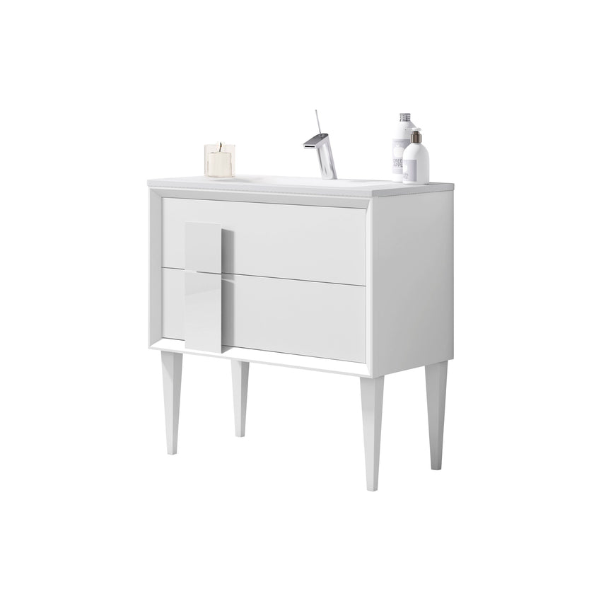 "Lucena Bath 24"" White Decor Cristal Freestanding Single Bathroom Vanity"