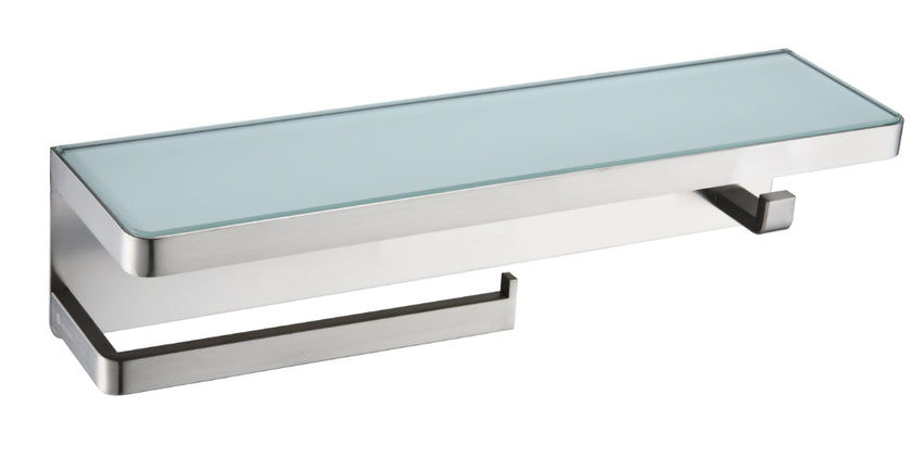 Bathroom Accessories - Bagno Bianca Stainless Steel White Glass Shelf W/ Towel Bar & Robe Hook - Brushed Nickel