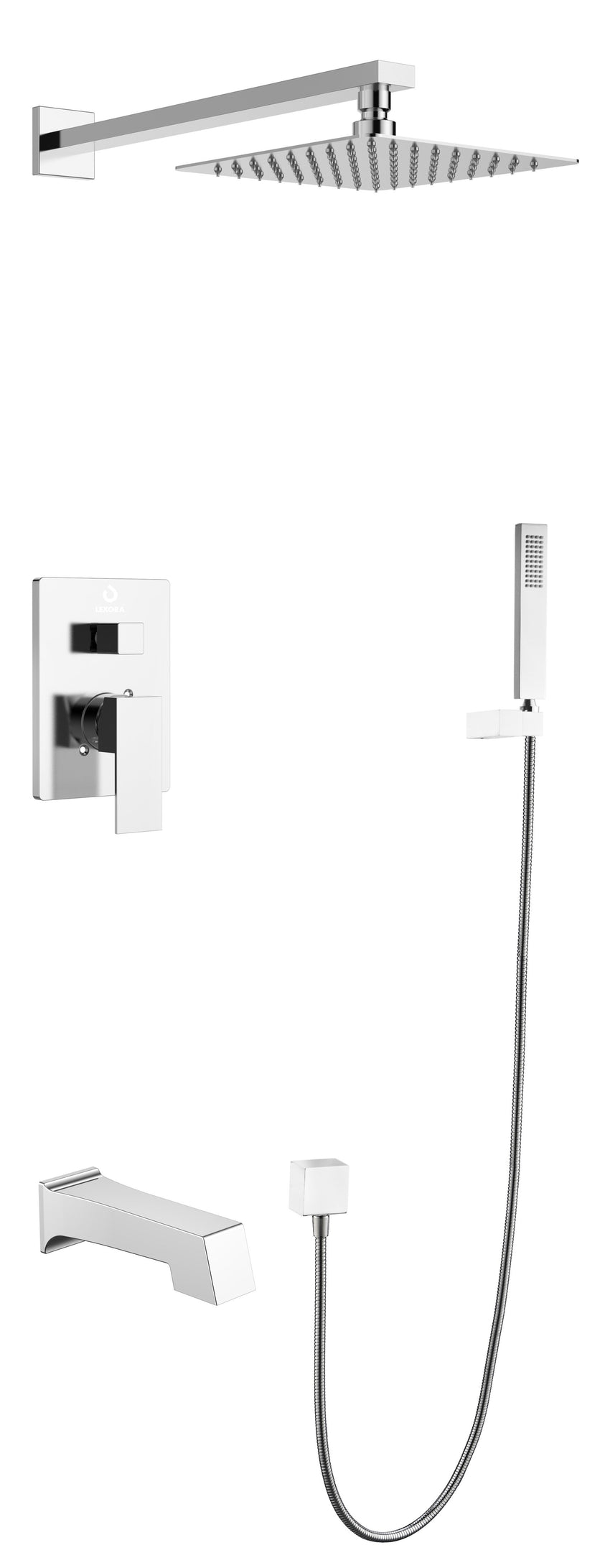 "Bathroom Accessories - Lexora LSS10011CH Monte Celo Set, 8"" Square Rain Shower And Handheld, Chrome"
