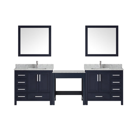 Bathroom Vanities - 102 Inch Navy Blue Double Vanity Set W/ Make-up Table  White Carrara Marble Top W/ White Ceramic Square Undermount Sink And 34 Inch Mirror