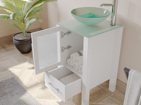 "Bathroom Vanities - 18"" White Bathroom Vanity Set Solid Wood Cabinet &Tempered Glass Counter Top And Single Round Tempered Glass Vessel Sink"