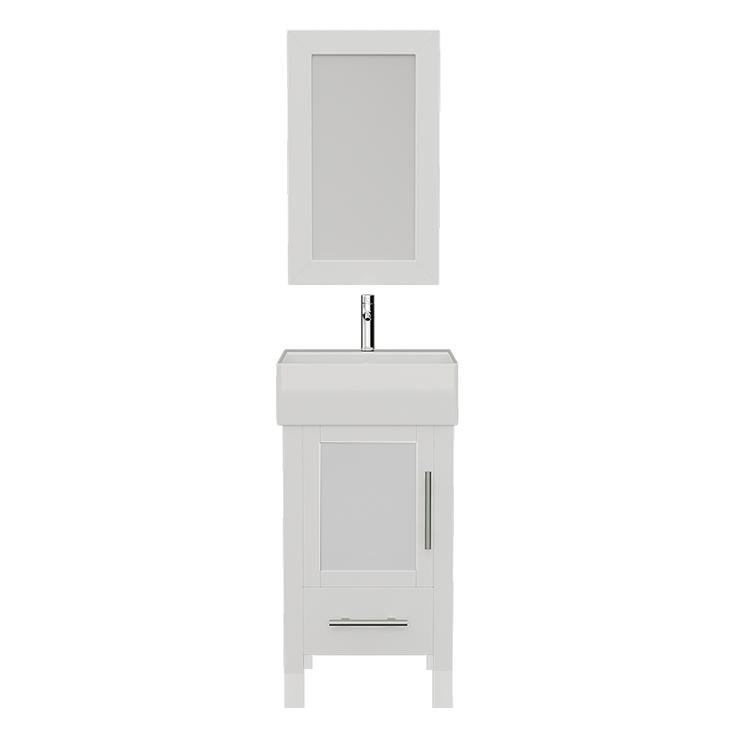 "Bathroom Vanities - 18"" White Bathroom Vanity Set Solid Wood & Porcelain Single Vessel Sink Vanity Set With Polished Chrome Faucets"