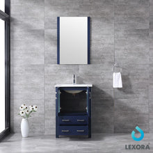 "Load image into Gallery viewer, Bathroom Vanities - 24"" Navy Blue Single Vanity, Integrated Top, White Integrated Square Sink And 22"" Mirror"