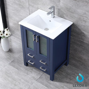 "Bathroom Vanities - 24"" Navy Blue Single Vanity, Integrated Top, White Integrated Square Sink And 22"" Mirror"