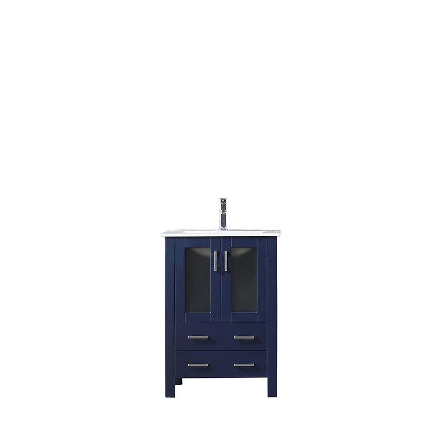 "Bathroom Vanities - 24"" Navy Blue Single Vanity, Integrated Top, White Integrated Square Sink And No Mirror"