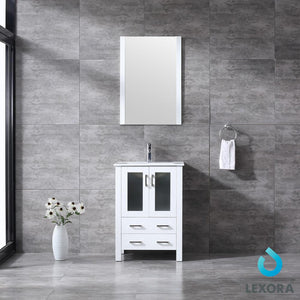 "Bathroom Vanities - 24"" White Single Vanity, Integrated Top, White Integrated Square Sink And 22"" Mirror"