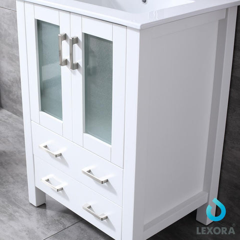 "Image of Bathroom Vanities - 24"" White Single Vanity, Integrated Top, White Integrated Square Sink And 22"" Mirror"