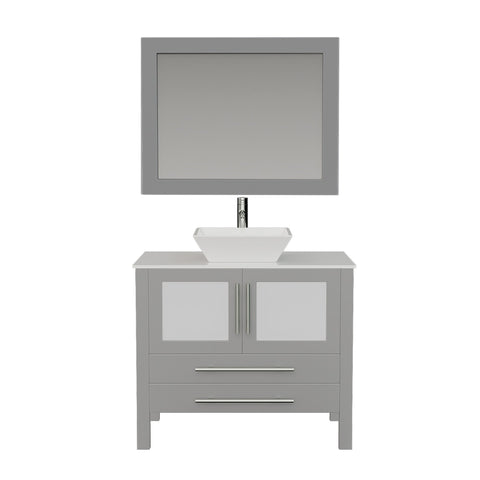 "Bathroom Vanities - 36"" Complete Gray Bathroom Vanity Set With Polished Chrome Plumbing"