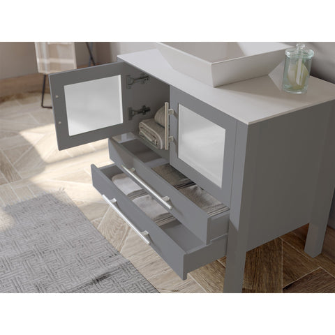 "Image of Bathroom Vanities - 36"" Complete Gray Bathroom Vanity Set With Polished Chrome Plumbing"