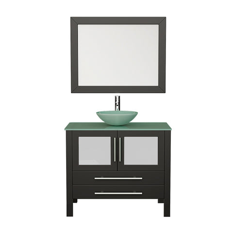 "Bathroom Vanities - 36"" Freestanding Single Bathroom Vanity Set Solid Wood Glass Vessel Sink With A Brushed Nickel Faucet"