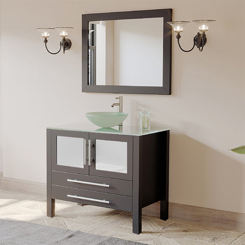 "Image of Bathroom Vanities - 36"" Freestanding Single Bathroom Vanity Set Solid Wood Glass Vessel Sink With A Brushed Nickel Faucet"