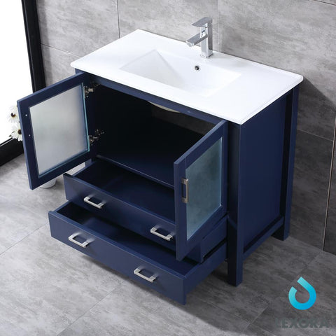 "Image of Bathroom Vanities - 36"" Navy Blue Single Vanity, Integrated Top, White Integrated Square Sink And 34"" Mirror"