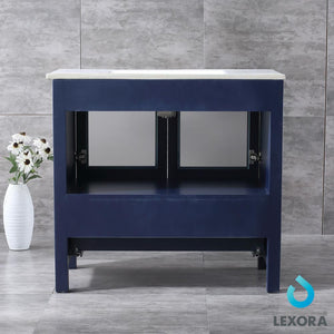 "Bathroom Vanities - 36"" Navy Blue Single Vanity, Integrated Top, White Integrated Square Sink And 34"" Mirror"