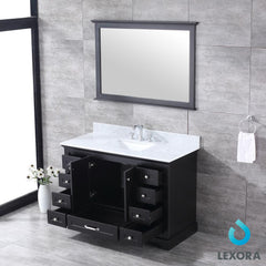 "Bathroom Vanities - 48"" Espresso Single Bathroom Vanity, White Carrara Marble Top, White Square Sink And 46"" Mirror"