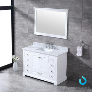 "Bathroom Vanities - 48"" White Single Vanity, White Carrara Marble Top, White Square Sink And 46"" Mirror"