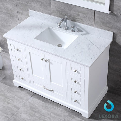 "Image of Bathroom Vanities - 48"" White Single Vanity, White Carrara Marble Top, White Square Sink And 46"" Mirror"