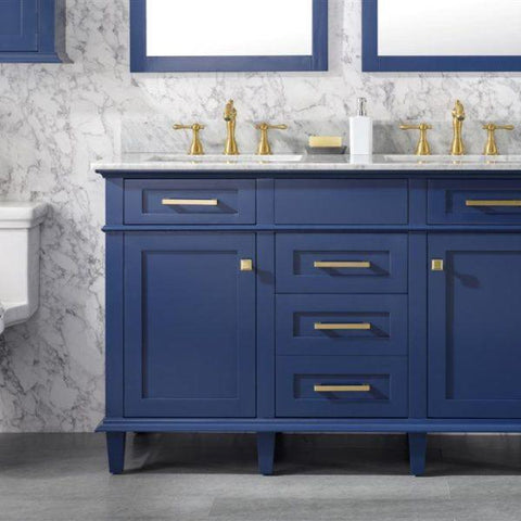 Bathroom Vanities - 54-Inch Blue Double Vanity Set With Carrara White Top- Faucets And Mirrors Not Included