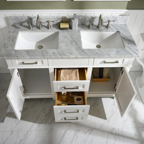 Bathroom Vanities - 54-Inches White Double Vanity Set With Carrara White Top- Mirrors And Faucets Not Included