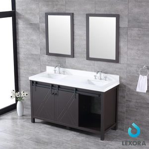 "Bathroom Vanities - 60"" Brown Double Vanity, White Quartz Top, White Square Sinks And 24"" Mirrors"