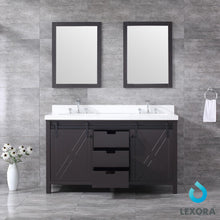 "Load image into Gallery viewer, Bathroom Vanities - 60"" Brown Double Vanity, White Quartz Top, White Square Sinks And 24"" Mirrors"