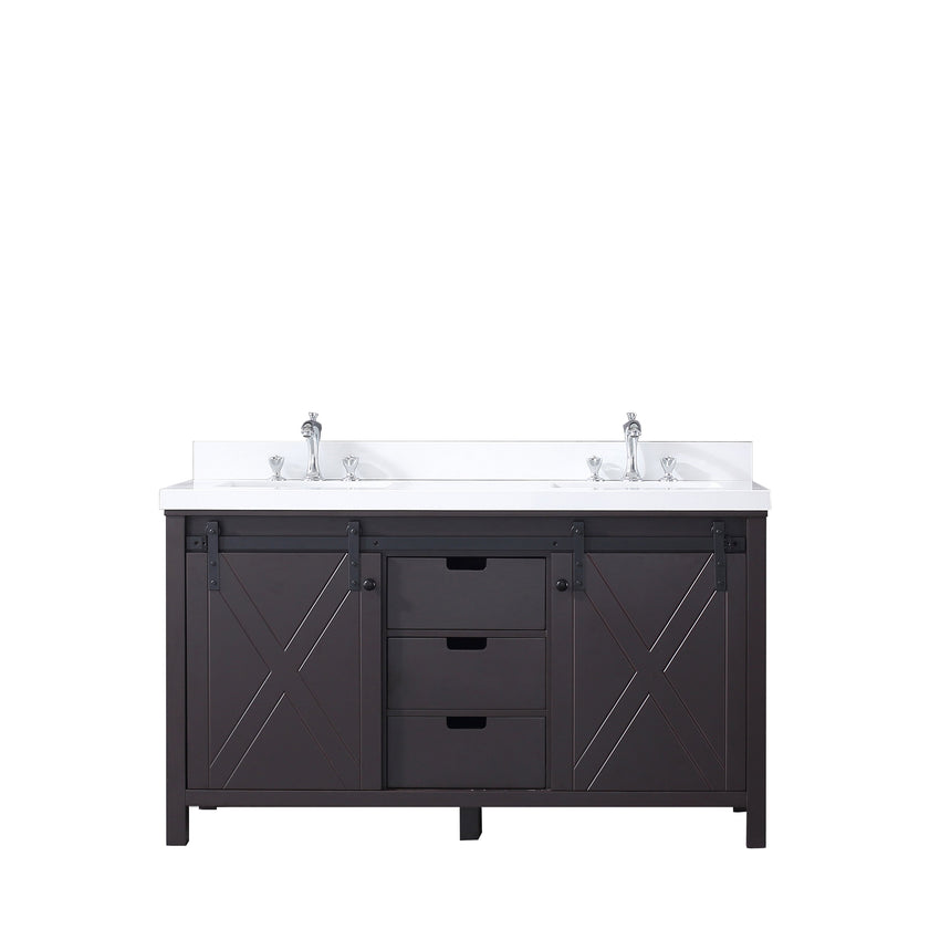 "Bathroom Vanities - 60"" Brown Double Vanity, White Quartz Top, White Square Sinks And No Mirror"