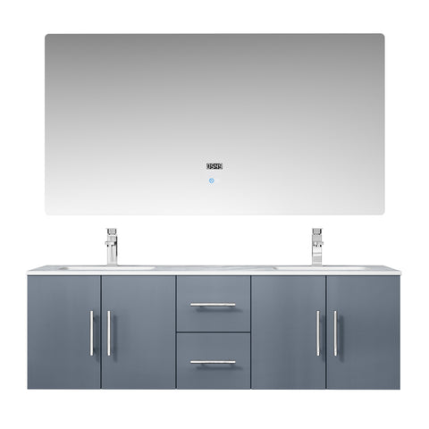 "Image of Bathroom Vanities - 60"" Dark Grey Double Vanity, White Carrara Marble Top, White Square Sinks And 60"" LED Mirror W/ Faucets"