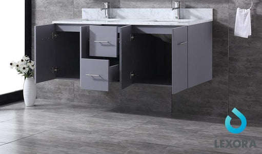 "Bathroom Vanities - 60"" Dark Grey Double Vanity, White Carrara Marble Top, White Square Sinks And 60"" LED Mirror W/ Faucets"