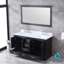 "Load image into Gallery viewer, Bathroom Vanities - 60"" Espresso Double Vanity, White Carrara Marble Top, White Square Sinks And 58"" Mirror"