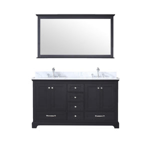 "Bathroom Vanities - 60"" Espresso Double Vanity, White Carrara Marble Top, White Square Sinks And 58"" Mirror"