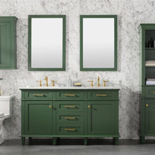 Load image into Gallery viewer, Bathroom Vanities - 60-Inch Vogue Green Double Vanity Set With Carrara White Top- Faucet And Mirrors Not Included