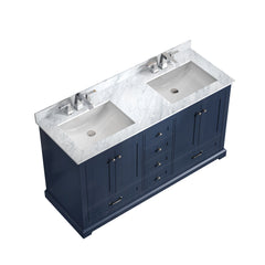 "Bathroom Vanities - 60"" Navy Blue Double Bathroom Vanity, White Carrara Marble Top, White Square Sinks And No Mirror"