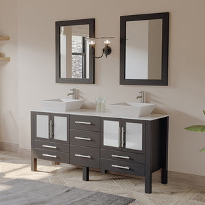 "Bathroom Vanities - 63"" Bathroom Vanity Set Solid Wood Vanity With Porcelain Counter Top And Two Matching Vessel Sinks"