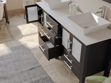 "Load image into Gallery viewer, Bathroom Vanities - 63"" Bathroom Vanity Set Solid Wood Vanity With Porcelain Counter Top And Two Matching Vessel Sinks"