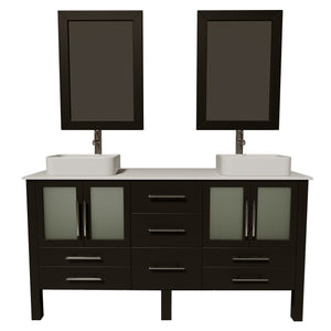"Bathroom Vanities - 63""Bathroom Vanity Set Solid Wood With Frosted Glass Counter Top And Two Matching Vessel Sinks"