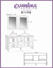 "Load image into Gallery viewer, Bathroom Vanities - 63"" Complete Bathroom Vanity Set With Polished Chrome Pluming"
