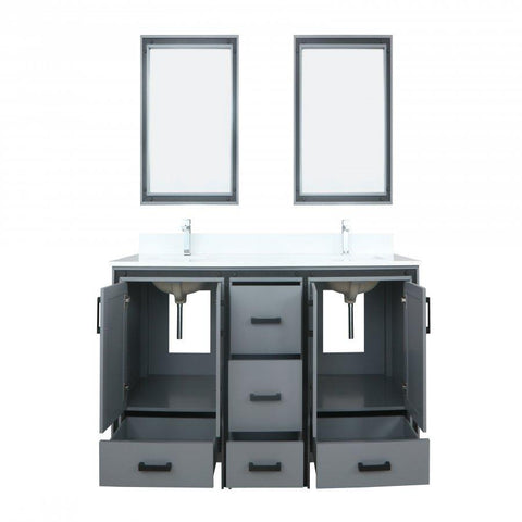 "Bathroom Vanities - 72"" Dark Grey Double Vanity, Cultured Marble Top, White Square Sink And 30"" Mirrors"
