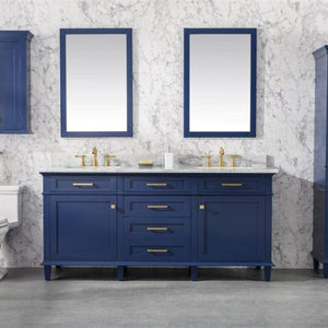 Bathroom Vanities - 72- Inches Double Vanity Set With Carrara White Top, Faucet And Mirror Not Included