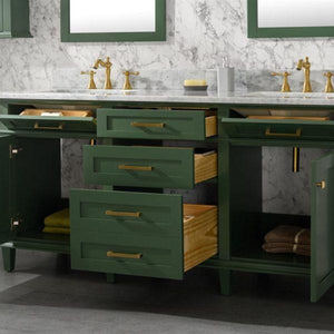 Bathroom Vanities - 72-Inches  Vogue Green Double Vanity Set - Mirror And Faucet Not Included