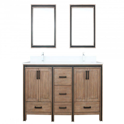 "Bathroom Vanities - 72"" Rustic Barnwood Double Vanity, Cultured Marble Top, White Square Sink And 30"" Mirrors"